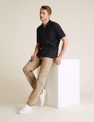 Pure Cotton Palm Print Pique Polo Shirt