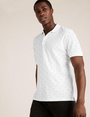 Pure Cotton Anchor Print Pique Polo Shirt