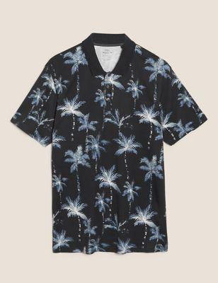 Pure Cotton Palm Print Polo Shirt