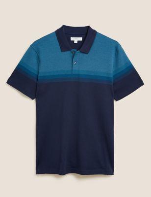 Pure Cotton Double Knit Striped Polo Shirt