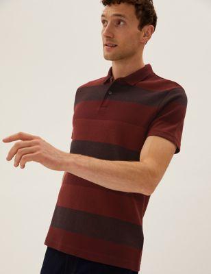 Pure Cotton Striped Double Knit Polo Shirt