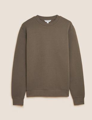 Cotton Textured Crewneck Sweatshirt