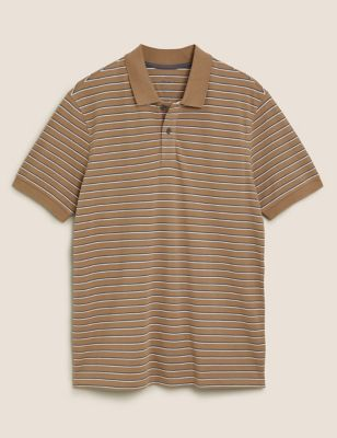 Pure Cotton Pique Striped Polo Shirt