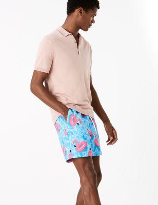 Quick Dry Flamingo Print Swim Shorts