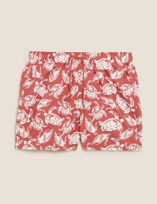 Quick Dry Pocketed Turtle Print Swim Shorts