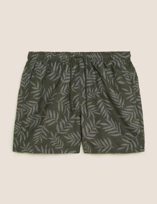 Quick Dry Pocketed Leaf Print Swim Shorts