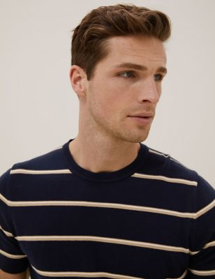 Cotton Striped Knitted T-Shirt