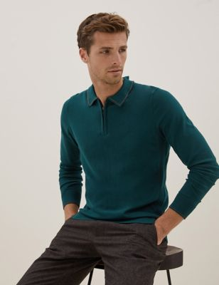 Zip Neck Knitted Polo Shirt