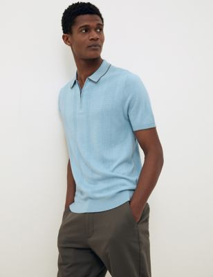 Textured Knitted Polo Shirt with Silk