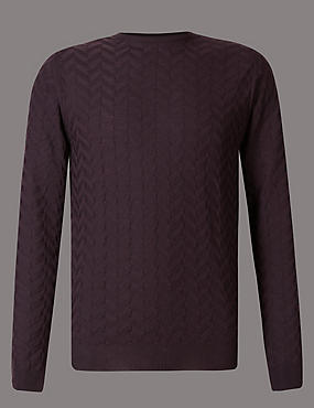 Pure Merino Wool Textured Slim Fit Jumper, BERRY, catlanding