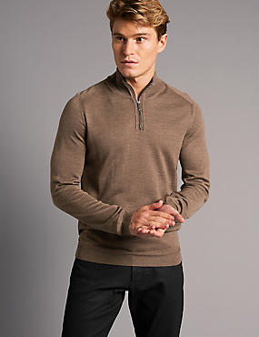 Merino Wool Blend Walnut Slim Fit Jumper, WALNUT, catlanding