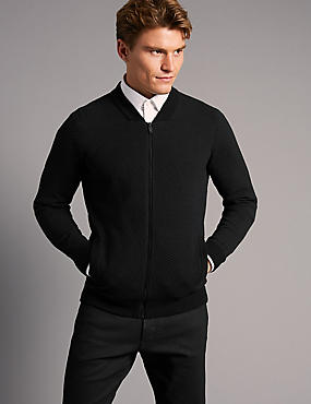 Cotton Rich Zipped Through Cardigan, BLACK, catlanding