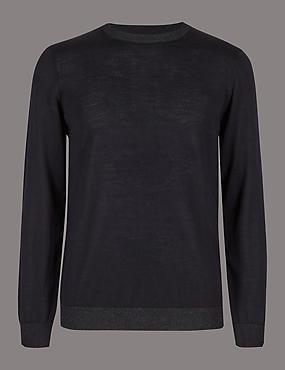 Pure Merino Wool Crew Neck Slim Fit Jumper, NAVY MIX, catlanding