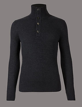 Merino Wool Rich Textured Jumper, GREY MIX, catlanding