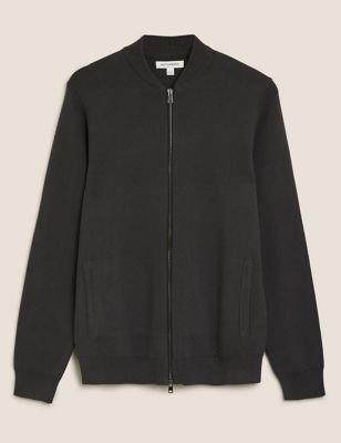 Cotton Knitted Bomber Jacket