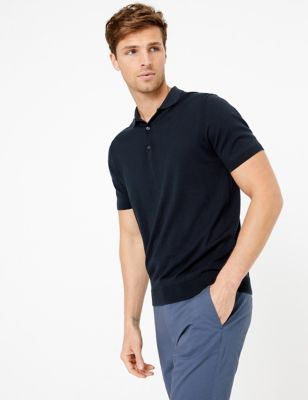 Silk Cotton Knitted Polo Shirt