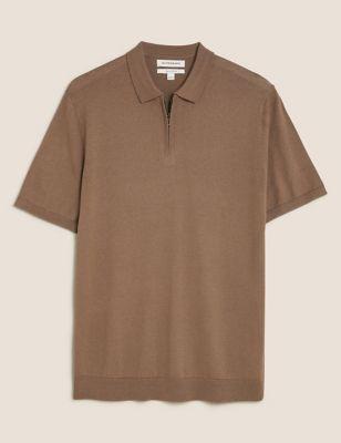Silk Cotton Zip Collar Knitted Polo Shirt