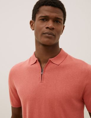 Silk Cotton Zip Collar Knitted Polo Shirt