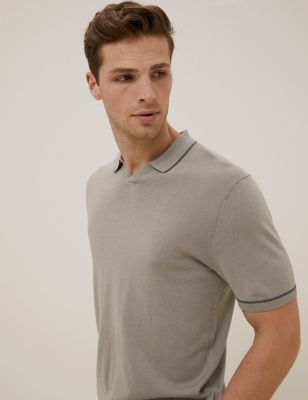 Silk Cotton Blend Knitted Polo Shirt