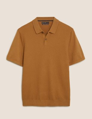 Cotton Textured Knitted Polo Shirt