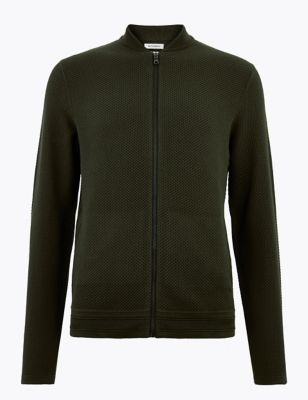 Cotton Modal Textured Knitted Bomber