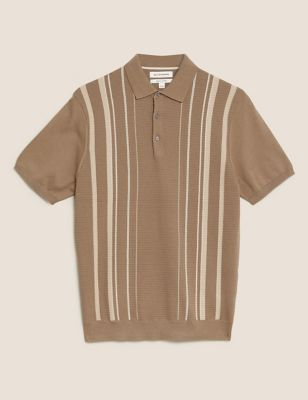 Cotton Textured Striped Knitted Polo Shirt