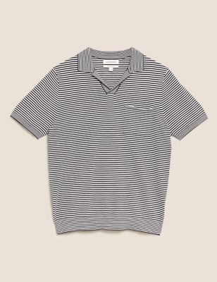 Premium Cotton Striped Knitted Polo Shirt