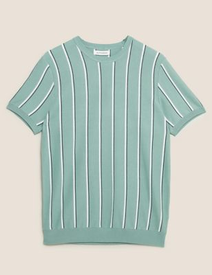 Cotton Striped Crew Neck Knitted T-Shirt