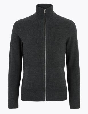 Cotton Ribbed Funnel Neck Zip Up Cardigan