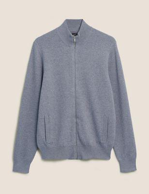 Cotton Textured Funnel Neck Jacket