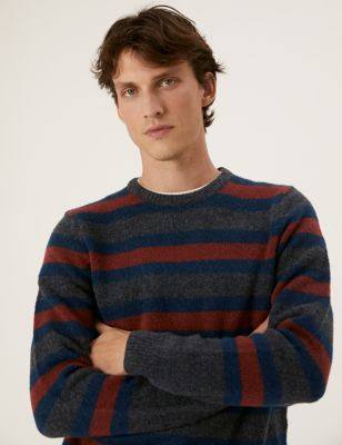 Striped Crew Neck Jumper With Wool