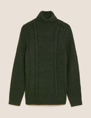 Cable High Neck Jumper with Wool