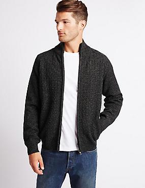 Textured Zipped Through Cardigan, GREY, catlanding
