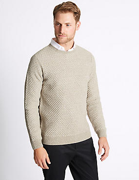 Textured Crew Neck Jumper, NEUTRAL, catlanding