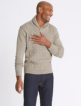 Textured Shawl Neck Jumper, NEUTRAL, catlanding