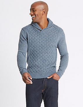 Textured Shawl Neck Jumper, MID BLUE, catlanding