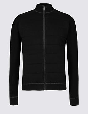 Pure Cotton Textured Zipped Through Cardigan, BLACK, catlanding