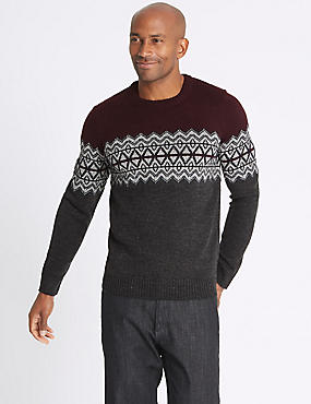 Zig Zag Fairisle Jumper, BURGUNDY MIX, catlanding