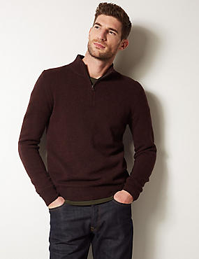 Pure Lambswool Textured Jumper, WINE, catlanding