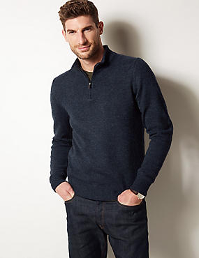 Pure Lambswool Textured Jumper, NAVY MARL, catlanding
