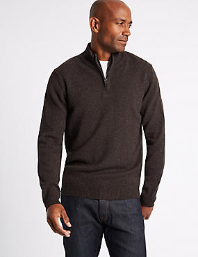 Pure Lambswool Textured Jumper, BROWN MARL, catlanding