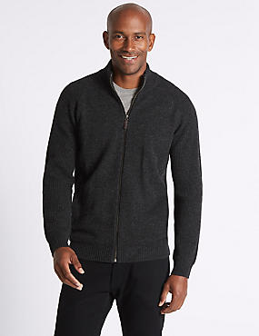 Funnel Neck Zipped Through Cardigan, CHARCOAL, catlanding