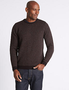 Wool Blend Textured Crew Neck Jumper, BURGUNDY MIX, catlanding