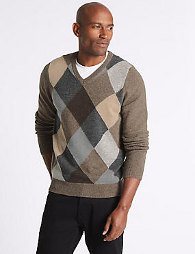 Wool Rich Argyle V-Neck  Jumper, GREY MIX, catlanding