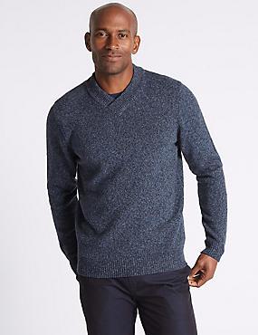 Wool Rich Textured Jumper, NAVY, catlanding