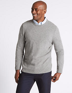 Pure Lambswool Argyle Crew Neck Jumper, GREY MIX, catlanding