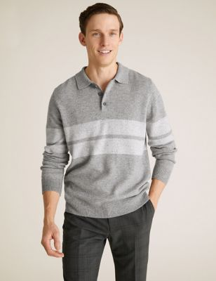 Pure Lambswool Striped Rugby Shirt