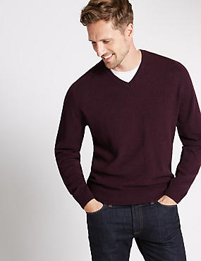 Pure Lambswool V-Neck  Jumper, WINE, catlanding