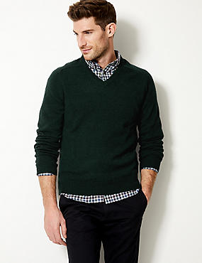 Pure Lambswool V-Neck  Jumper, DARK EVERGREEN, catlanding