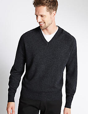 Pure Lambswool V-Neck  Jumper, DARK GREY, catlanding